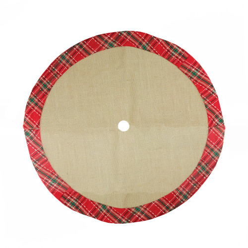 "20"" Rustic Burlap Mini Christmas Tree Skirt with Red Plaid Border - IMAGE 1"
