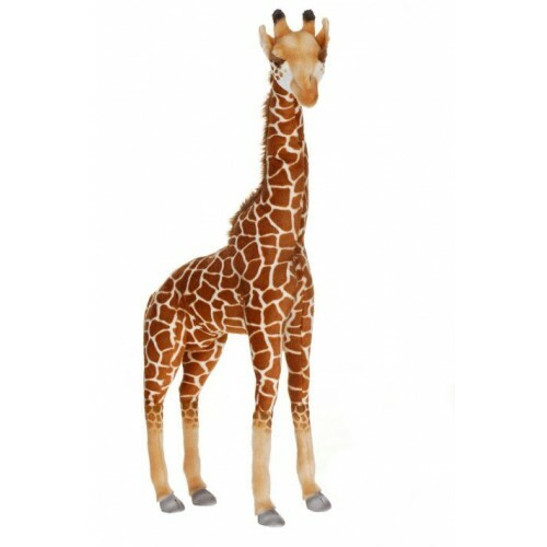 """33.25"""" Brown and Beige Handcrafted Extra Soft Plush Giraffe Stuffed Animal - IMAGE 1"""
