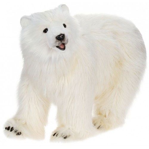 "41.25"" White and Black Handcrafted Polar Bear Cub Stuffed Animal 41.25 - IMAGE 1"