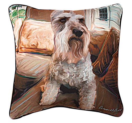 """18"""" Brown and White Schnauzer Outdoor Patio Square Throw Pillow - IMAGE 1"""