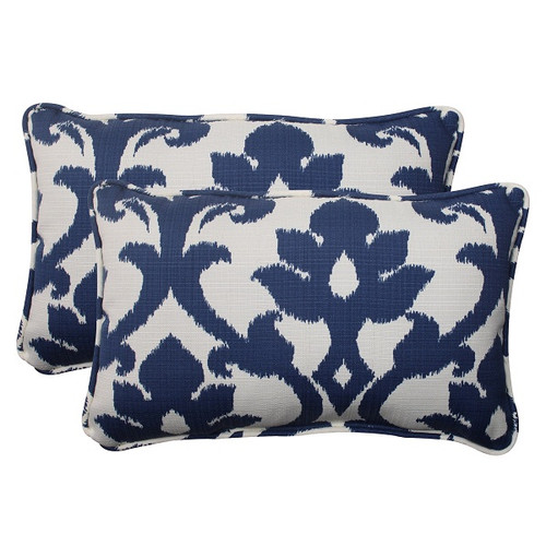 "Set of 2 Navy Victorian Floral Outdoor Corded Rectangular Throw Pillows 18.5"" - IMAGE 1"