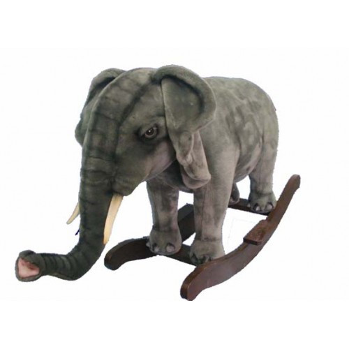 "31.75"" Gray Handcrafted Elephant Rocker Stuffed Animal - IMAGE 1"