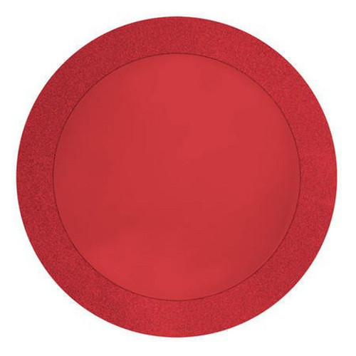"Club Pack of 96 Red Christmas Disposable Round Placemats 14"" - IMAGE 1"