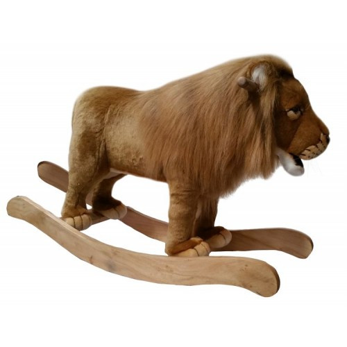 """31.75"""" Brown and White Handcrafted Lion Rocker Stuffed Animal - IMAGE 1"""