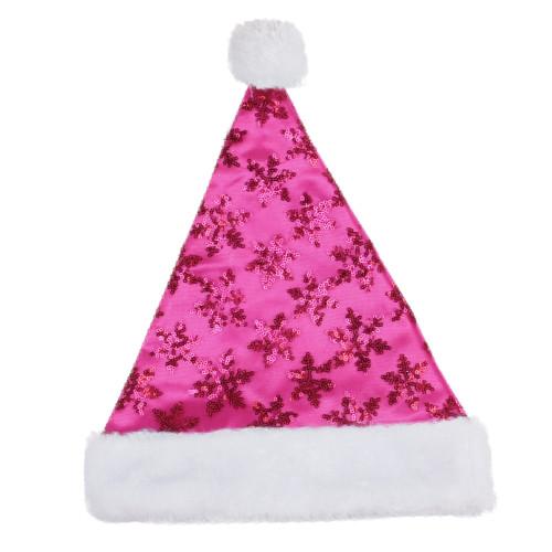 Pink and White Sequin Snowflake Santa Hat Unisex Adult Christmas Costume Accessory - Medium - IMAGE 1