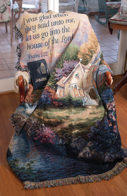"""Green and White Church in the Country Religious Verse Psalm Tapestry Throw Blanket 50"""" x 60"""" - IMAGE 1"""