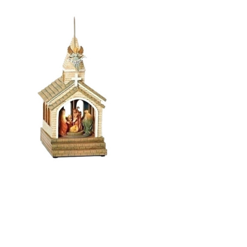 "12"" Brown and Red LED Lighted Musical Nativity Scene Christmas Ornament - IMAGE 1"