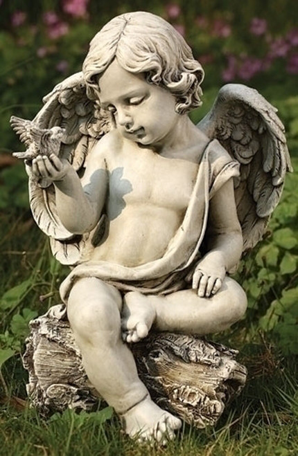 "12"" Sitting Cherub Angel with Wings Garden Statue - IMAGE 1"