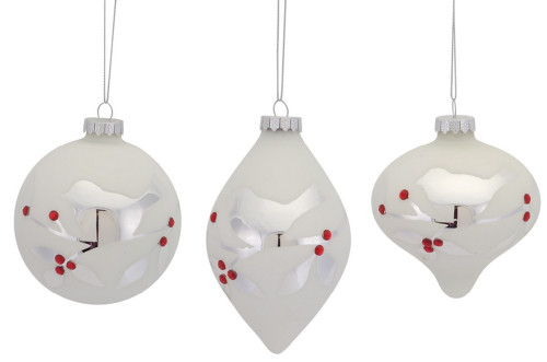 """6ct White and Silver Etched Bird with Jewel Glass Christmas Ornaments 5"""" - IMAGE 1"""