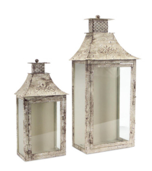 """Set of 2 Cream and Brown Antique Wall Mounted Pillar Candle Lanterns 19.5"""" - IMAGE 1"""
