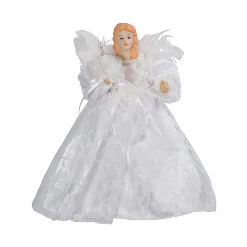 """9"""" Seasons of Elegance White Lace Angel Christmas Tree Topper - Clear Lights - IMAGE 1"""
