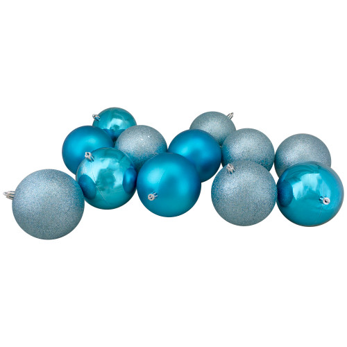 """12ct Turquoise Blue Shatterproof 4-Finish Christmas Ball Ornaments 4"""" (100mm) - IMAGE 1"""