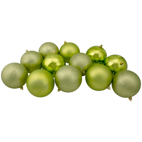 "12ct Kiwi Green Shatterproof 4-Finish Christmas Hanging Ball Ornaments 4"" (100mm) - IMAGE 1"