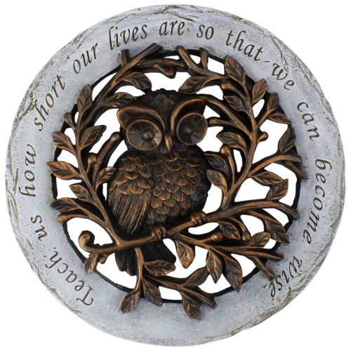 12 Bronze and Gray Wise Owl Outdoor Garden Stepping Stone - IMAGE 1