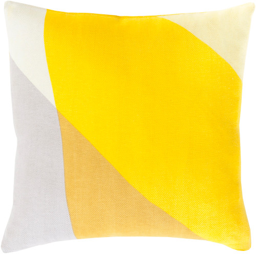 """18"""" Gray and Yellow Contemporary Square Throw Pillow - Down Filler - IMAGE 1"""