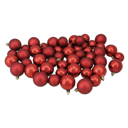 """50ct Red Shatterproof 2-Finish Christmas Ball Ornaments 2"""" (50mm) - IMAGE 1"""
