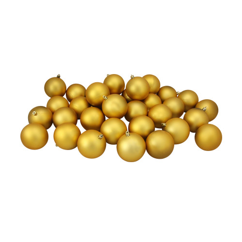 "32ct Shatterproof Matte Vegas Gold Christmas Ball Ornaments 3.25"" (80mm) - IMAGE 1"