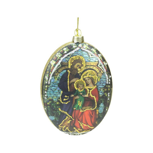 "5"" Double Sided Glass Holy Family and Flower Oval Disc Christmas Ornament - IMAGE 1"