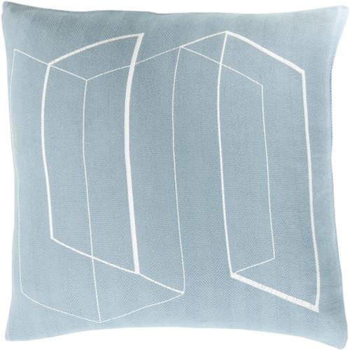 """22"""" Blue and White Contemporary Decorative Indoor Square Throw Pillow - Poly Filled - IMAGE 1"""