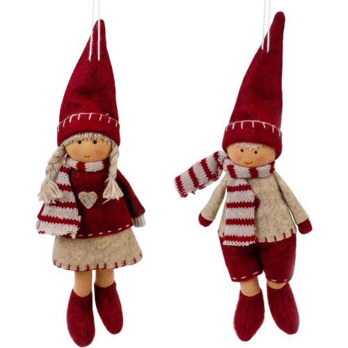 "Set of 2 Boy and Girl Hanging Doll Christmas Ornaments 8"" - IMAGE 1"