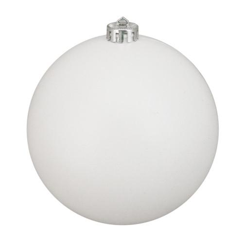 "Winter White Shatterproof Matte Christmas Ball Ornament 6"" (150mm) - IMAGE 1"