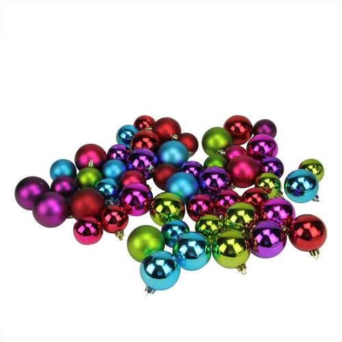 """50ct Purple and Green Shatterproof 2-Finish Christmas Ball Ornaments 2"""" (50mm) - IMAGE 1"""