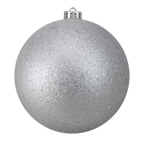 """Holographic Glitter Silver Splendor Shatterproof Christmas Ball Ornament 6"""" (150mm) - IMAGE 1"""