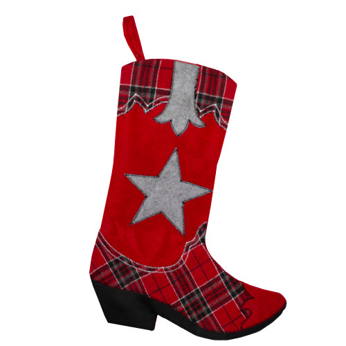 """18.5"""" Country Rustic Red and Black Plaid Cowboy Boot Christmas Stocking - IMAGE 1"""
