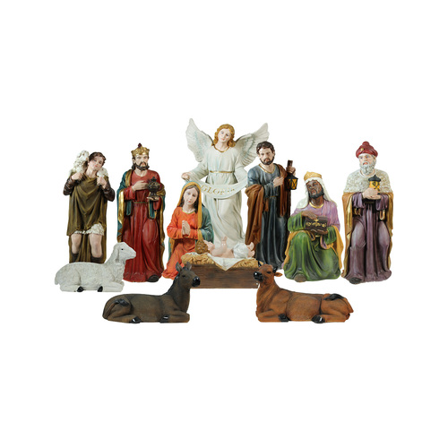 "11-Piece Multi-Color Religious Christmas Nativity Figurine Set 39"" - IMAGE 1"