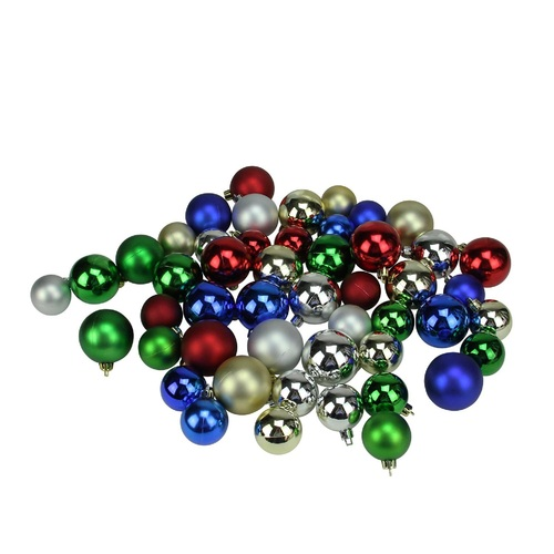 """50ct Multi-Color Shatterproof 2-Finish Christmas Ball Ornaments 2"""" (50mm) - IMAGE 1"""