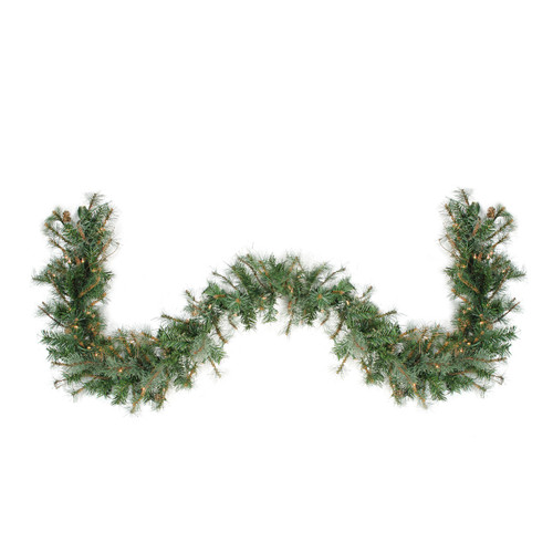 "9' x 12"" Pre-Lit Country Mixed Pine Artificial Christmas Garland - Clear Dura-Lit Lights - IMAGE 1"