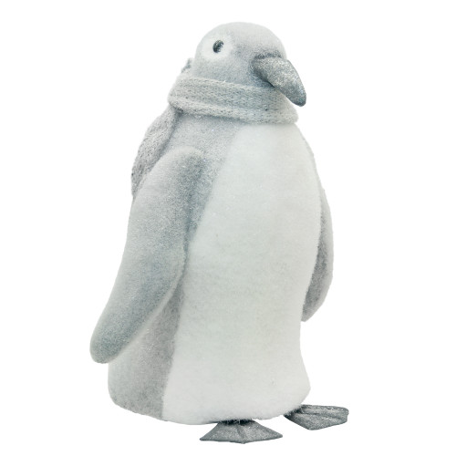 """18"""" Gray and White Sparkling Penguin with Scarf Tabletop Figure - IMAGE 1"""