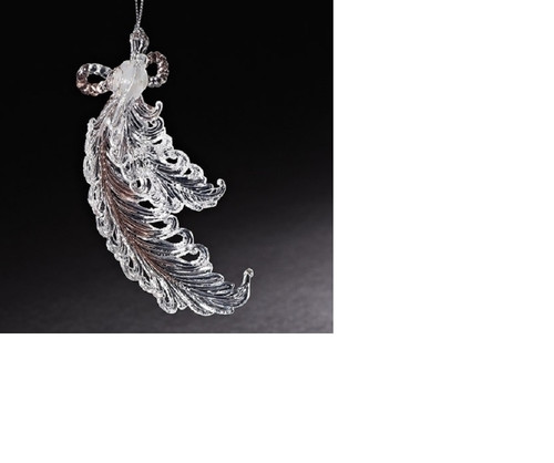 """5.5"""" Clear and Silver Feathers with Sparkling Glitter Accents Christmas Ornament - IMAGE 1"""