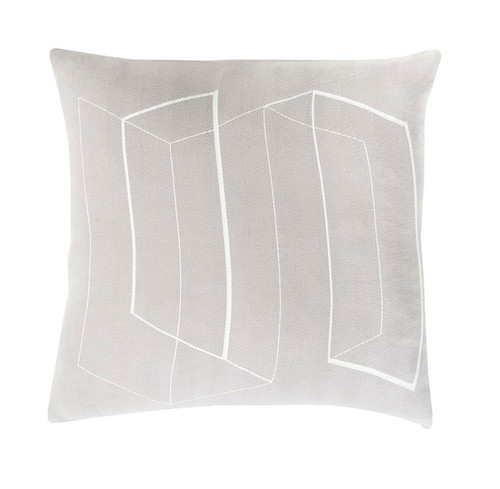 """22"""" Gray and White Hand Woven Geometric Patterned Throw Pillow – Down Filler - IMAGE 1"""