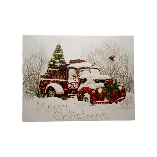 """LED Lighted Merry Christmas Pepsi Cola Delivery Truck Canvas Wall Art 12"""" x 15.75"""" - IMAGE 1"""