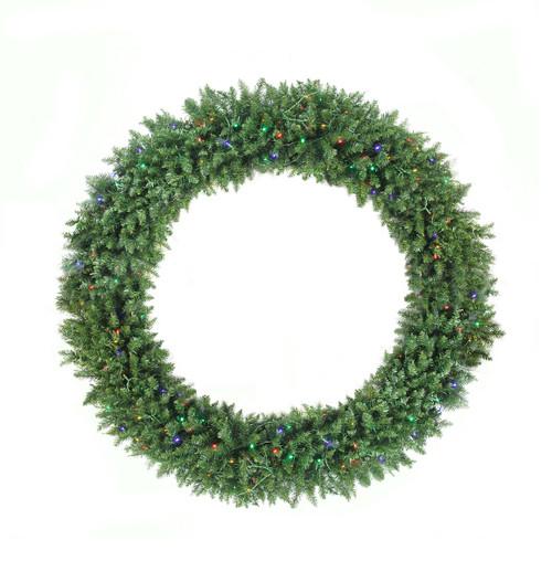 Pre-Lit Buffalo Fir Commercial Artificial Christmas Wreath - 5-Foot, Multi LED Lights - IMAGE 1