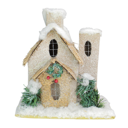 "9.25"" White and Beige Snow Covered House with Shrubs Christmas Tabletop Decor - IMAGE 1"
