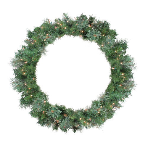 Pre-Lit Mixed Cashmere Pine Artificial Christmas Wreath - 36-Inch, Clear Lights - IMAGE 1