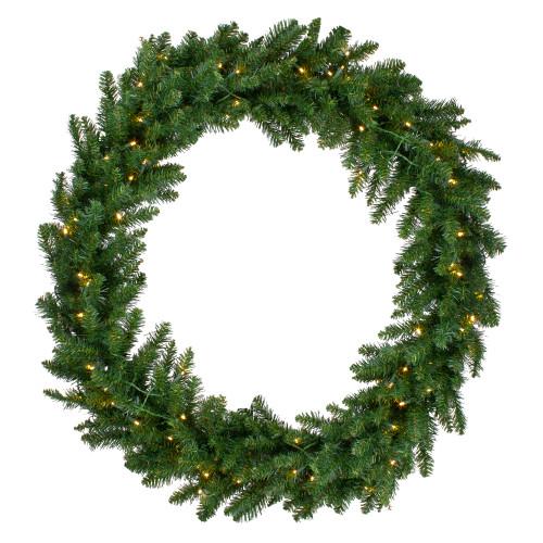 Pre-Lit LED Buffalo Fir Artificial Christmas Wreath - 48-Inch, Warm White Lights - IMAGE 1