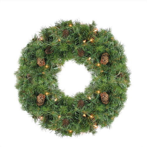 Pre-Lit Dakota Pine Artificial Christmas Wreath - 24-Inch, Clear Lights - IMAGE 1
