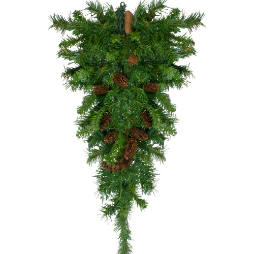 "42"" Pine Artificial Christmas Teardrop Swag with Pine Cones - Unlit - IMAGE 1"