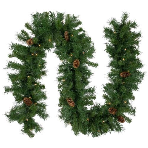 "9' x 12"" Pre-Lit Dakota Green and Brown Pine Artificial Christmas Garland - Clear Dura Lights - IMAGE 1"