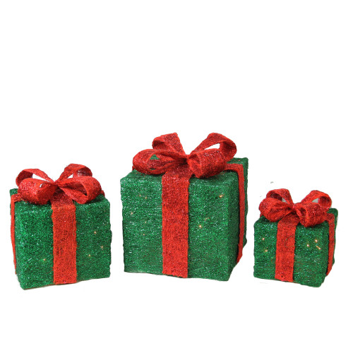 """Set of 3 Green and Red Pre-lit Sisal Gift Boxes with Bows Outdoor Christmas Decor 10"""" - IMAGE 1"""
