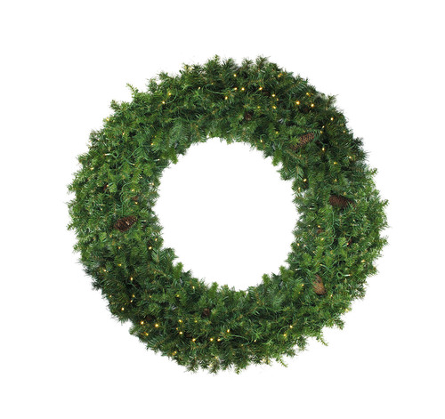 Pre-Lit Dakota Red Pine Commercial Artificial Christmas Wreath - 6-Foot, Clear Dura Lights - IMAGE 1