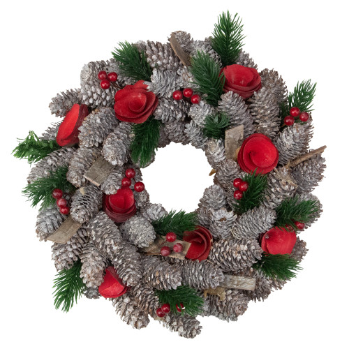 Pine Cones Berries and Flowers Artificial Christmas Wreath - 10-Inch, Unlit - IMAGE 1