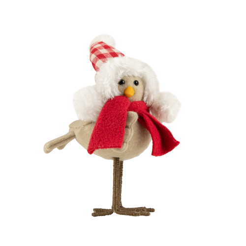 """8.25"""" Beige Standing Bird with Red Scarf and Plaid Hat Christmas Figure - IMAGE 1"""