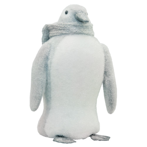 """15"""" Gray and White Sparkling Penguin with Scarf Tabletop Figurine - IMAGE 1"""