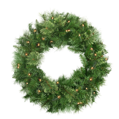 Pre-Lit Mixed Cashmere Pine Artificial Christmas Wreath - 24-Inch, Clear Lights - IMAGE 1