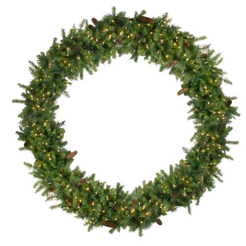 Pre-Lit Dakota Pine Artificial Christmas Wreath - 72-Inch, Warm White LED Lights - IMAGE 1
