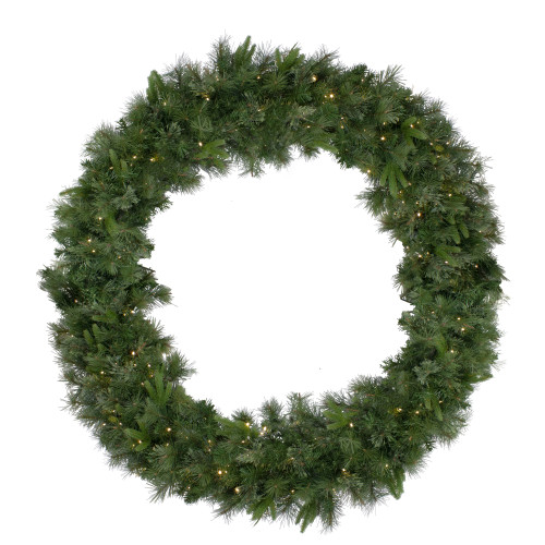 Pre-Lit Ashcroft Cashmere Pine Commercial Artificial Christmas Wreath - 60-Inch, Warm White Lights - IMAGE 1